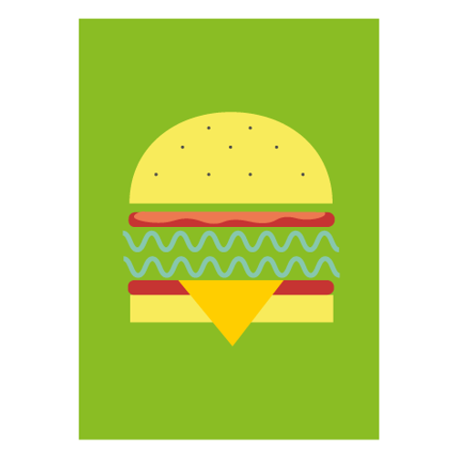 Veggie Burger / Pop Green - Digital Print
