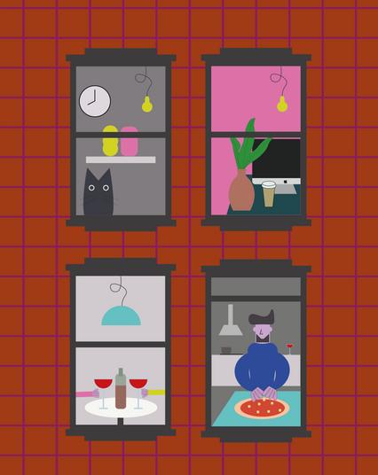 Through the Windows - The Lockdown Digital Illustration Alessio Sanzeri