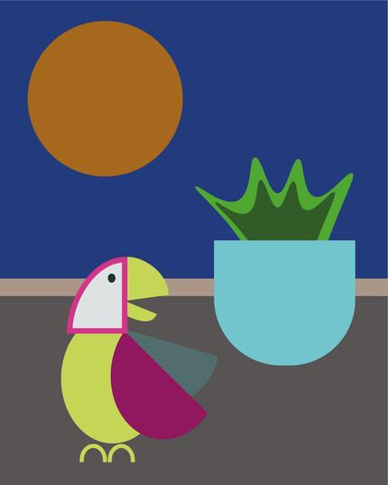 The Parrot Digital Illustration Alessio Sanzeri