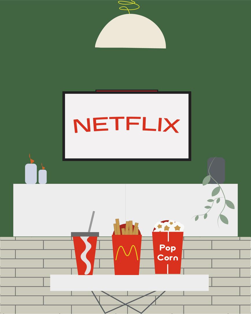 Keep Calm and Watch Netflix Digital Illustration Alessio Sanzeri