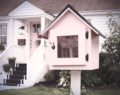 Free-Little-Library-Pink-Front-Door-Curb-Appeal-White-Exterior-Homes-Kids-Books-White-Shake-Shingles