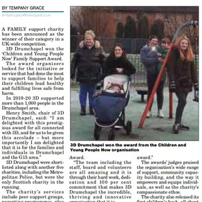 Clydebank Post published article on recent award win!