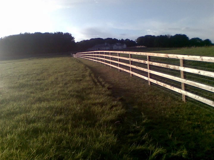 Tanalised 4 Bar P+R fence with Tornado 12-108-8 Horse wire traped between the Post and the rail 3