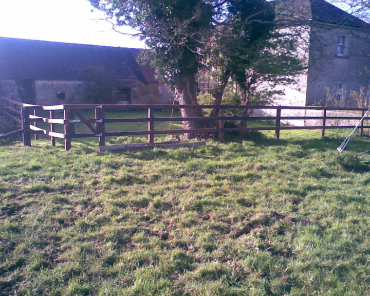 3 Bar P+R Fence with home made Pedestrian gate around Garden