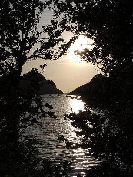 Sunset at Watermouth Bay Devon.