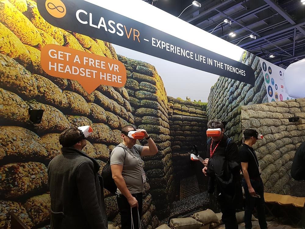 War themed Class VR stand at BETT