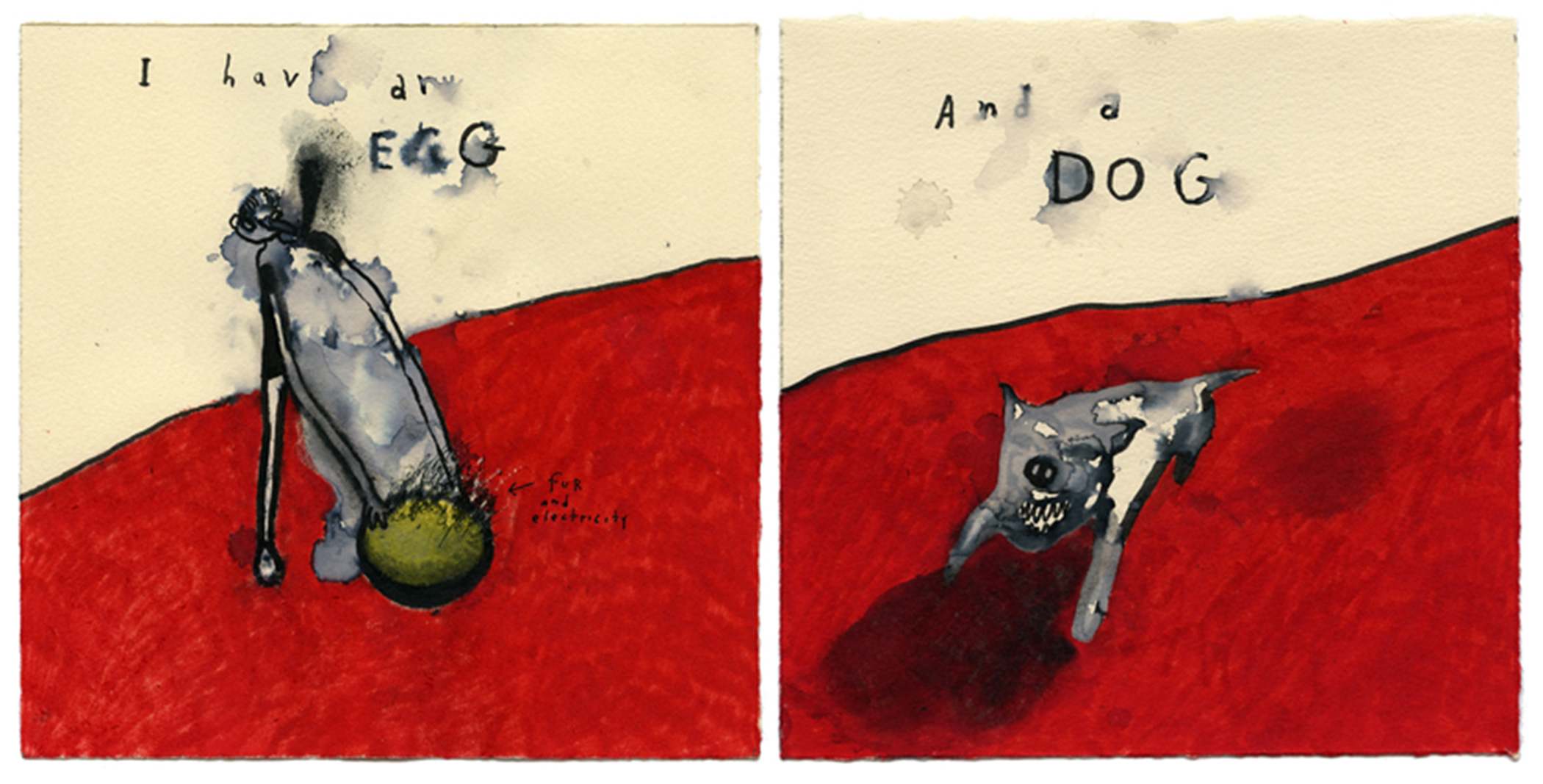 drawing - I HAVE AN EGG AND A DOG