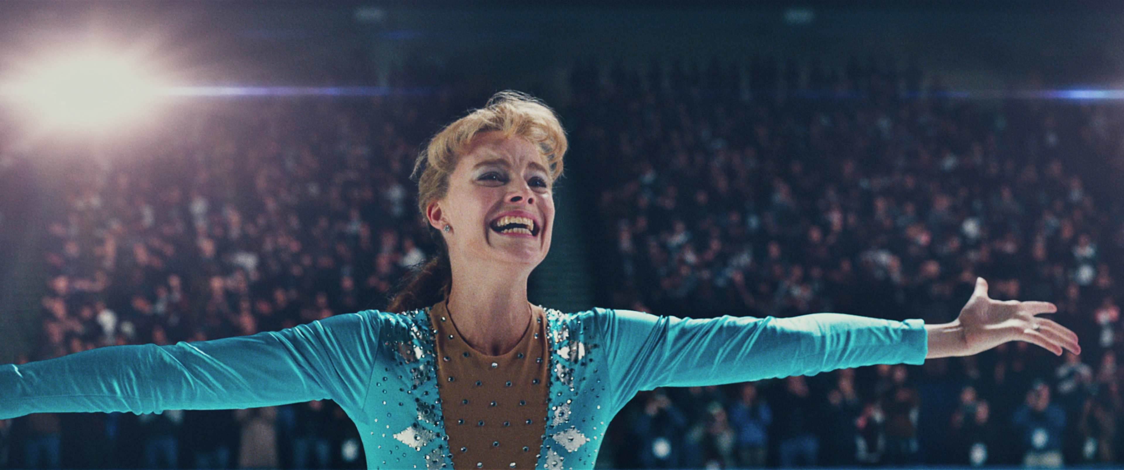 1-Tonya Harding (Margot Robbie) after landing the triple axel in I, TONYA, courtesy of NEON