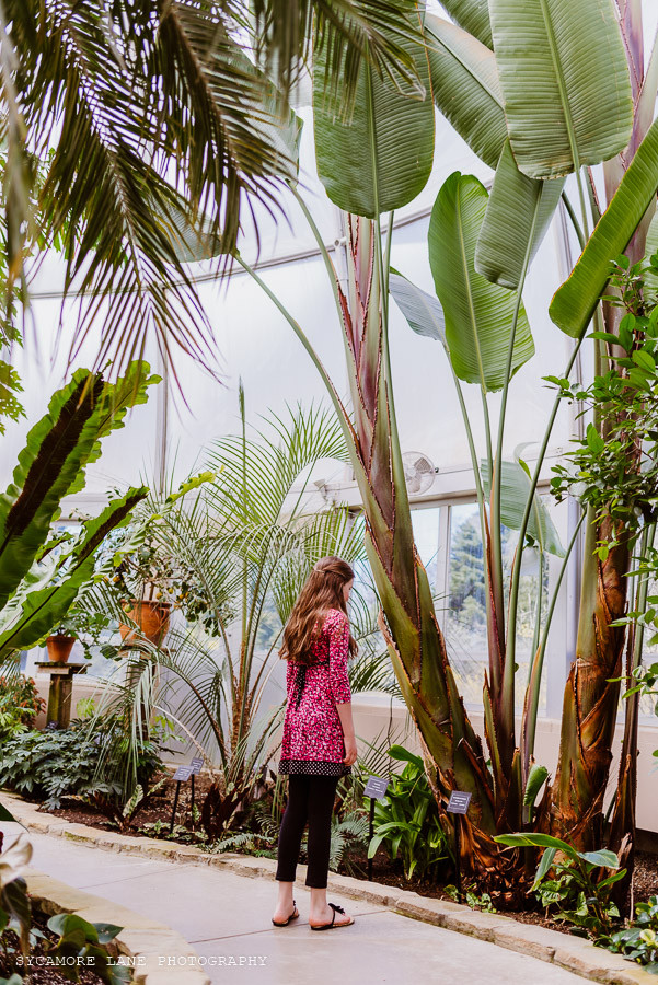 Girl looking at a tropical plant