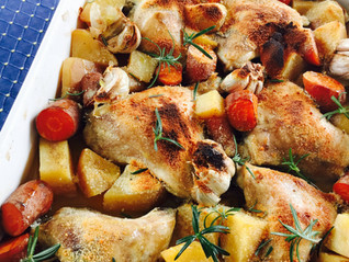 Chicken, potato and carrot bake with Parmesan cheese and rosemary