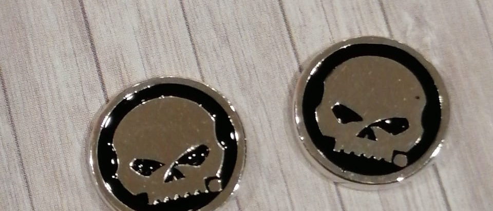 BLACK ENAMEL SKULL CIRCLE POST EARRINGS