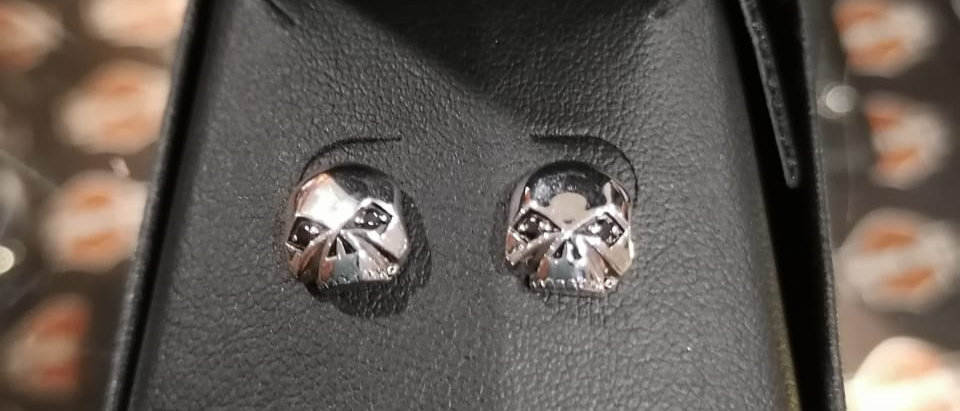 H-D SKULL POST EARRINGS