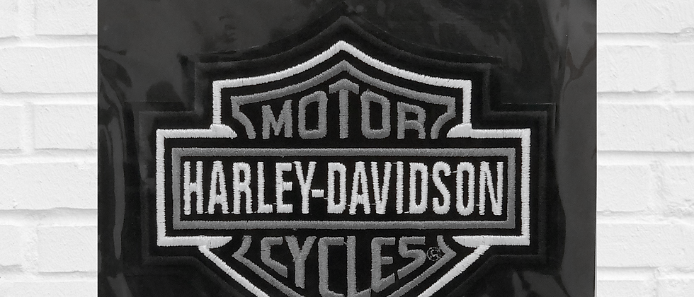 BAR AND SHIELD HARLEY-DAVIDSON PATCH WHITE