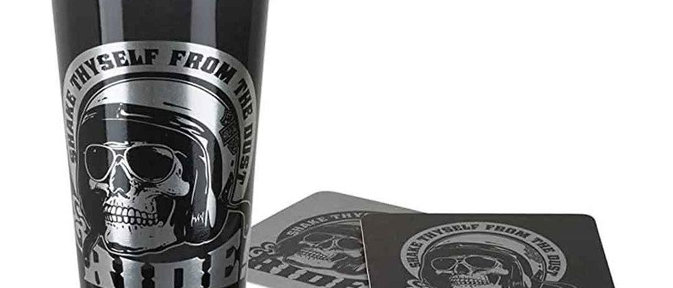 Harley-Davidson® Skull Rider Tall Glass Set w/ Matching Coasters, 20oz.