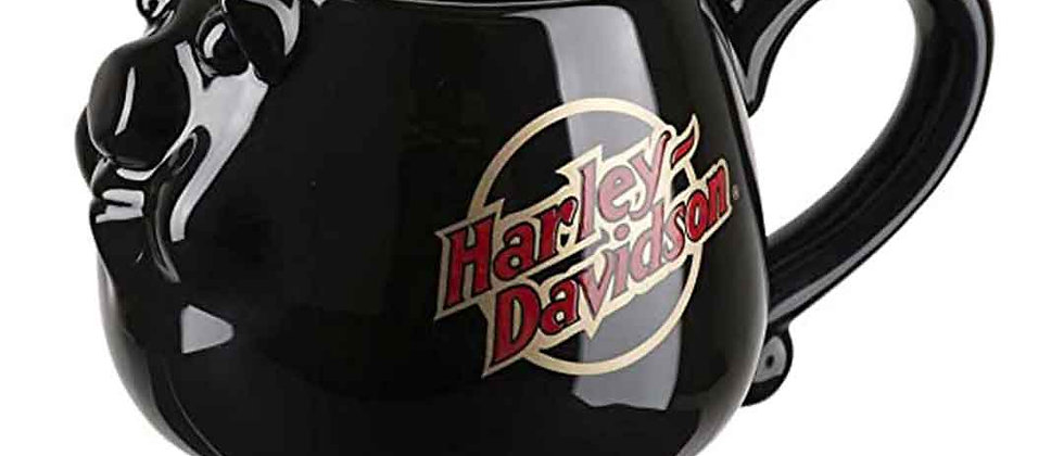Taza de café Harley-Davidson® Core Sculpted Hog, 14 oz. - Negro brillante
