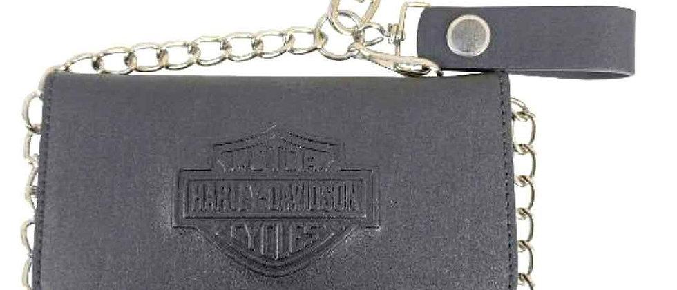 Harley-Davidson® Men's Bar & Shield® Tall Biker Tri-Fold Wallet | Zip Coin Pocke