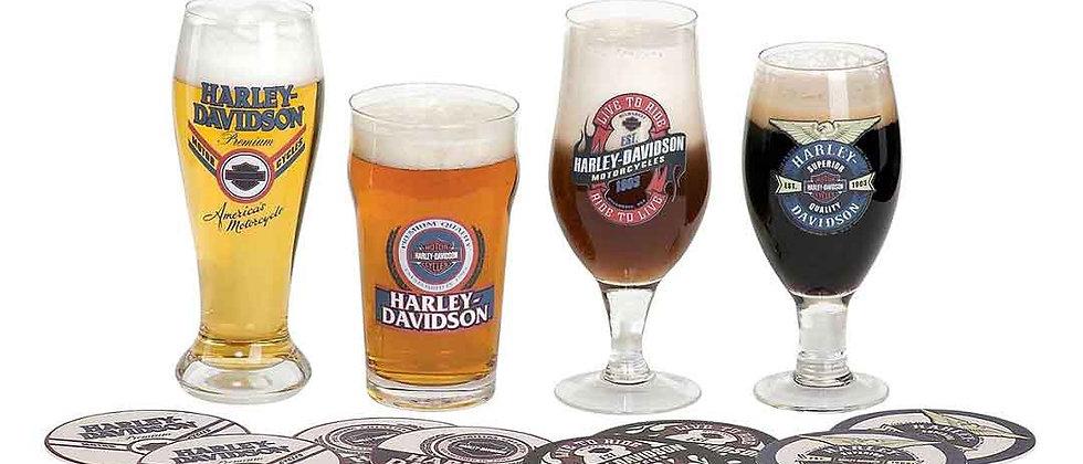 Harley-Davidson® Logo Craft Beer Glass Set con posavasos a juego