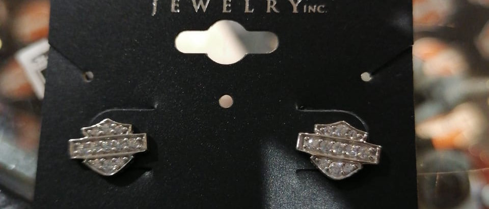 PETITE WHITE BLING B&S POST EARRINGS
