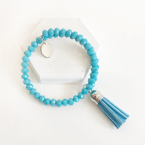 Stacking Bracelet - Blue with Tassel
