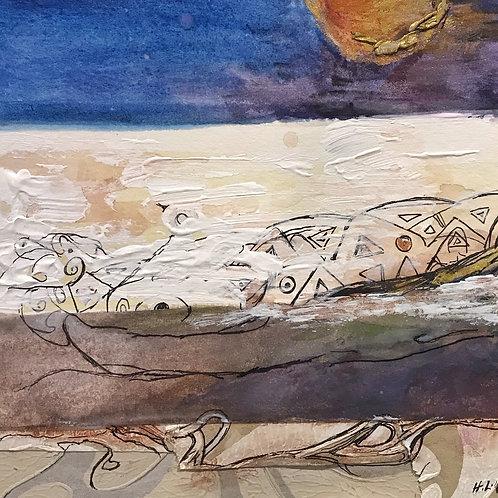 """Beach Moon In August, 13"""" x 15"""""""