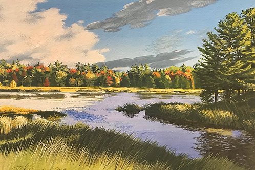 "Small Lake At Dusk, Nova Scotia, 11"" x 17"""