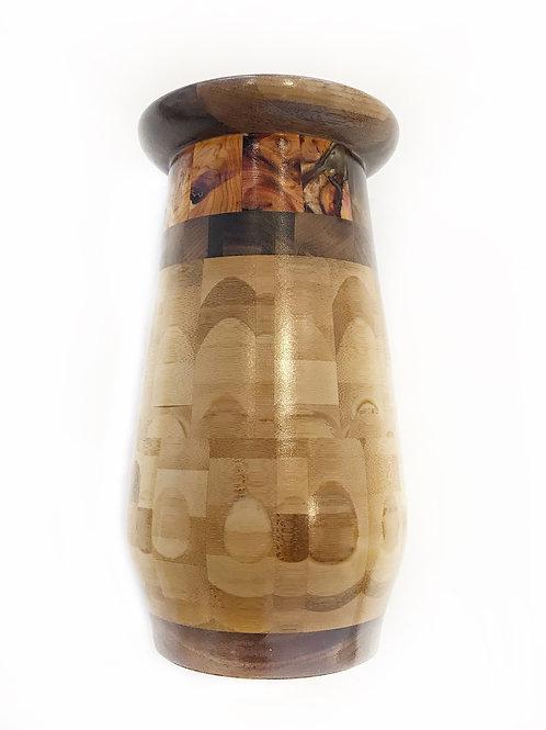 "Bamboo, Lilac & Walnut Vase, 6"" x 11"""