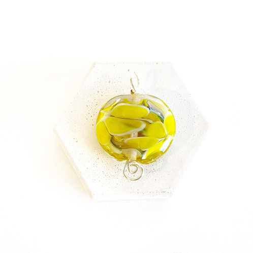 Pressed Flower Pendant - Yellow