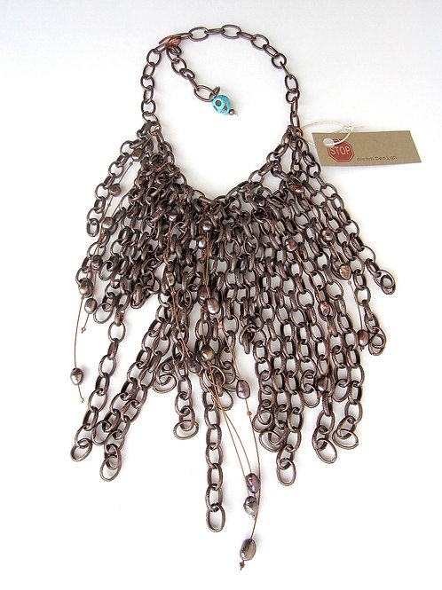 Necklace - Copper and Fresh Water Pearls