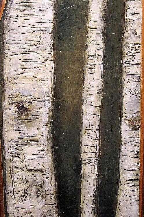 "Birch on Live Edge Wood, 8"" x 12"""
