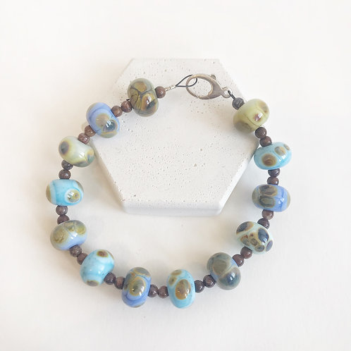 Lampwork Bracelet - Blues & Browns