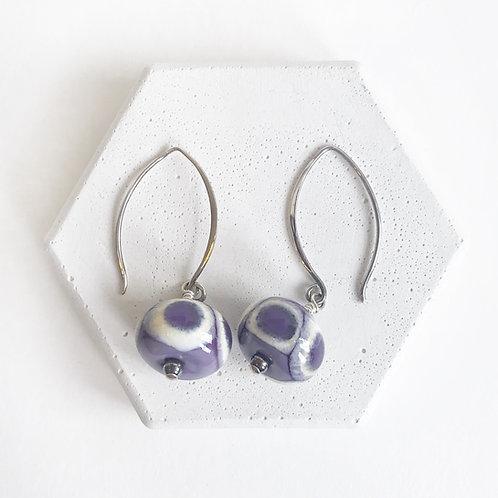 Lampwork Earrings - Purple & White