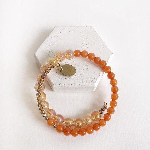 Semi-Precious Bracelet - Peach & Orange