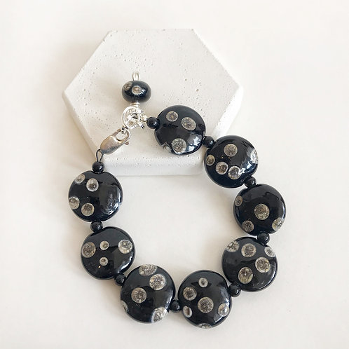 Lampwork Bracelet - Black Speckled