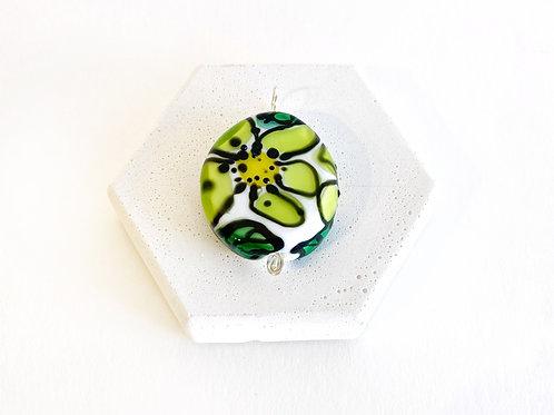 Watercolour Pendant - Green Flower