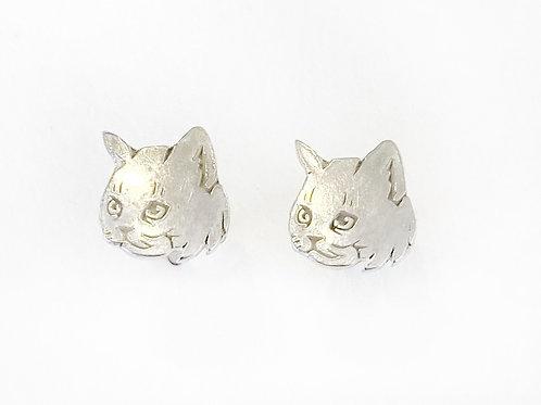 Earrings - Silver Cats