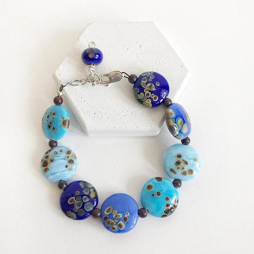 Lampwork Bracelet - Blue Speckled