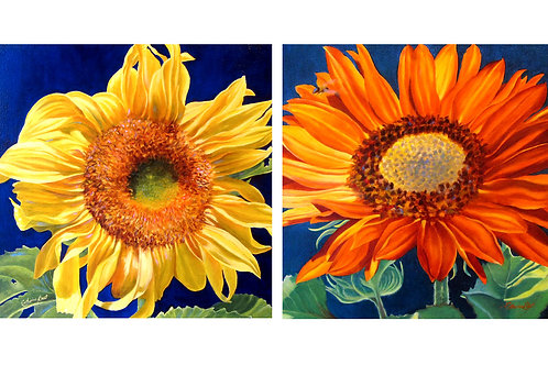 "Set of 2 Flower Paintings, 16"" x 32"""