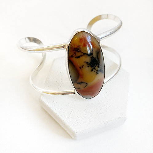 Bracelet - Silver Cabochon Bangle with Agate
