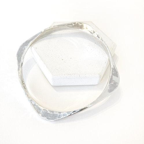Bracelet - Forged Silver Square Bangle