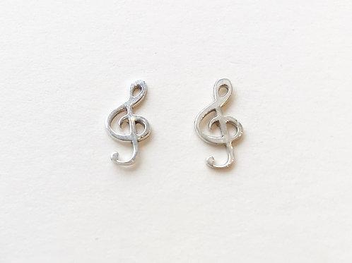 Earrings - Silver Treble Clef Studs