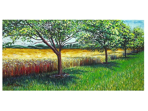 "Wheat Field On The Road To Stratford, 10"" x 20"""