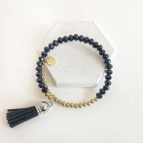 Stacking Bracelet - Black & Gold with Tassel