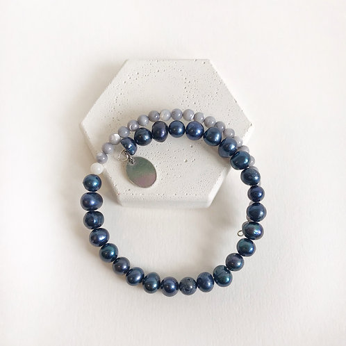 Semi-Precious Bracelet - Navy & Grey