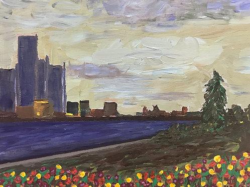"Detroit Skyline, 10"" x 12"""