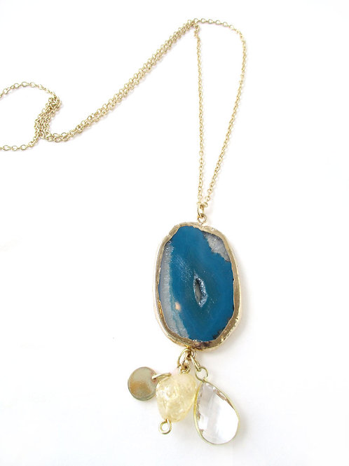Necklace - Blue Agate & Citrine