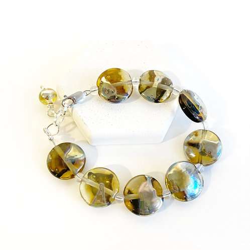 Lampwork Bracelet -Translucent Olive with Metallic Splash