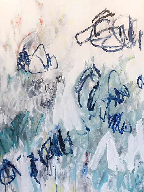 """Pieces of Blue 1, 36"""" x 48"""""""