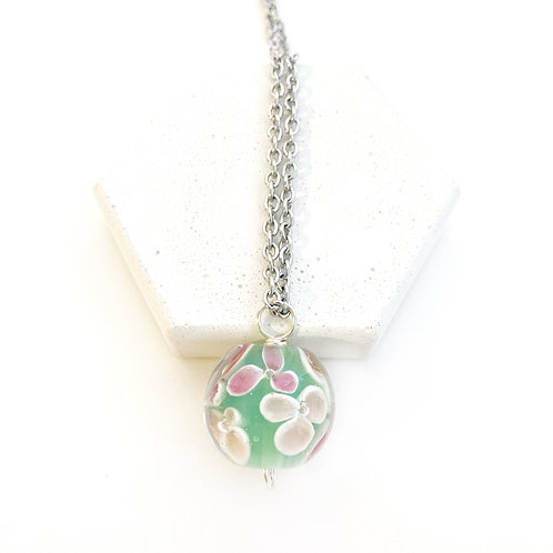 Encased Flower Pendant - Mint with Pink & Purple