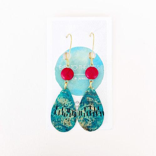 Earrings - Teal & Red Drops