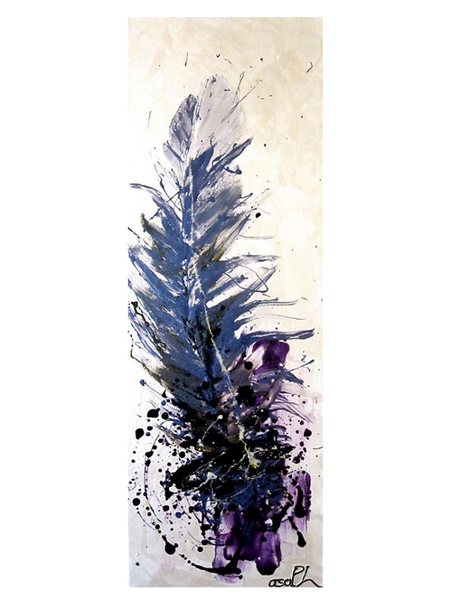 "Purple Feather, 12"" x 36"""